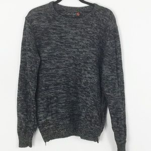G by Guess Black/Gray Heather Crew Sweater Med